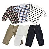 3 sets casual wear plaid clothes outfits for Ken barbie doll kids gift, handmade 3 pcs Jeans pants with 3 pcs shirts