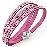 Holyart Amen bracelet I love you, pink with charm, 54 cm (21.28 inc.)