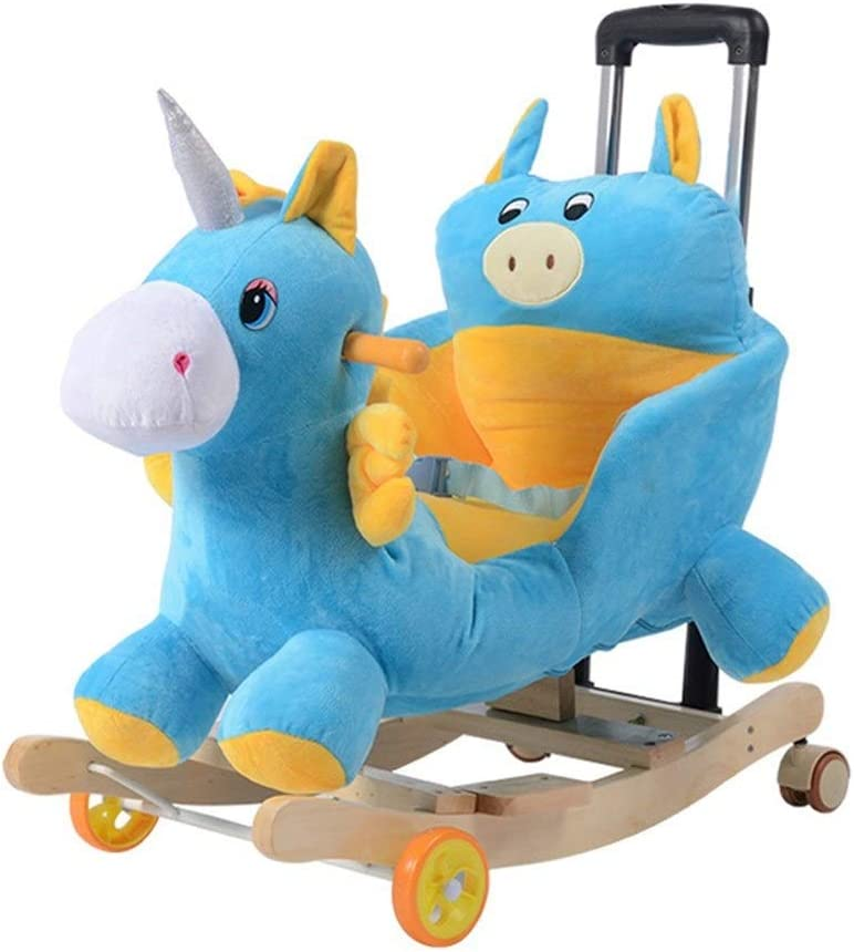 Baoyuanwang Children'S Leisure Chair Music Children Rocking Chair Solid Wood Rocking Horse Dual-Verwendung Baby Rocking Cradles Baby Toy Gift 582850Cm/602853Cm (Color : #1)