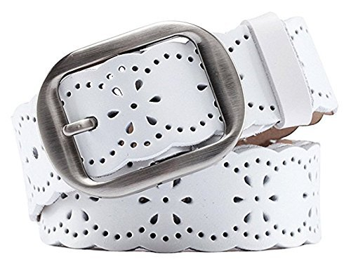 [JASGOOD Fashion Women's Hollow Flower Design Genuine Cowhide Leather Wide Waist Belt With Alloy Buckle For Jeans] (Cowhide Buckle)