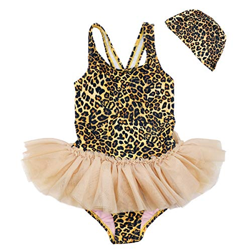 Baby Toddler Girl Swimsuit Unicorn Tutu Skirt Swimwear -One Piece Princess Swimwear Infant Bathing Suits for Girls Kids (Leopard Tutu, 5-6T) (Toddler Girls Swim Skirt)