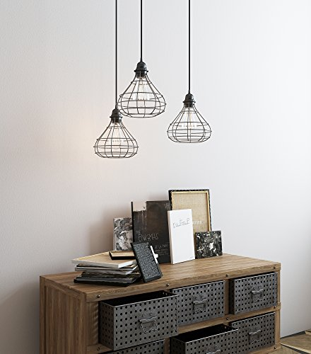 Rustic State Industrial Cage Pendant Light with 15 Black Fabric Plug-in Cord and Toggle Switch Includes Edison LED Bulb in Black Set of 2
