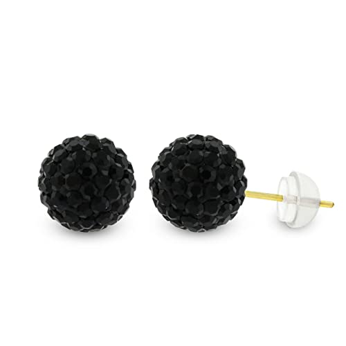 b8ce6d74d Amazon.com: 14k Yellow Gold Womens 8mm Austrian Crystal Ball Studs Earrings  (Black): Jewelry