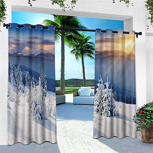 (leinuoyi Winter, Outdoor Curtain Panel Design, Fantastic Disappearance of Sunrise in Mountain Tops Dramatic Sky Alpine, Fabric W108 x L96 Inch White Blue)