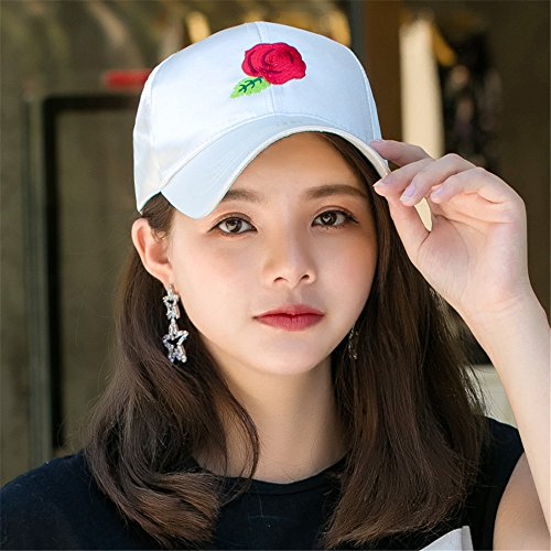 Painted Sun Visor - BTBTAV Women Children Outdoor Travel Visor Cap SPF Male Hand-Painted Sun Hat Lady Baseball Cap Adjustable Peaked Cap and Unisex [],Rose White