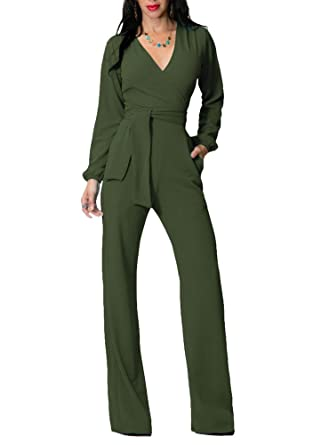 a8068d2a494 Indistyle Women s Elegant V Neck High Waist Long Sleeves Jumpsuit Slim Fit Wide  Leg Long Pants