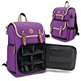 GOgroove Digital SLR Camera Backpack (Purple-Mid-Volume) w/Tablet Compartment, Customizable Dividers for Accessory Storage, Tripod Holder and Weatherproof Rain Cover for Canon , Nikon , Olympus & more