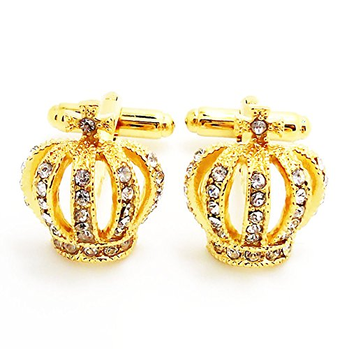 (Men's Wedding Royal Cufflinks Novelty Rare Fancy Golden Crown Cuff Buttons with Gift Bag)