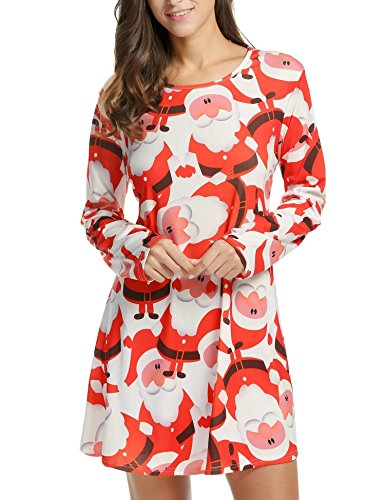 Swing Top White Sleeve Gifts Print Bifast Dress Flared Xmas Christmas Long Plus Size Claus Santa qp7PX