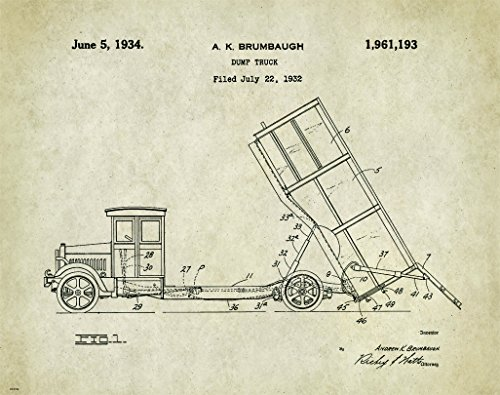 Dump Truck Patent Poster Art Print Wall Decor Picture Vintage Construction Heavy Equipment