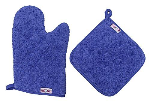 Lavlish Oven Mitt & Pot Holder Set 100% Cotton, Blue -