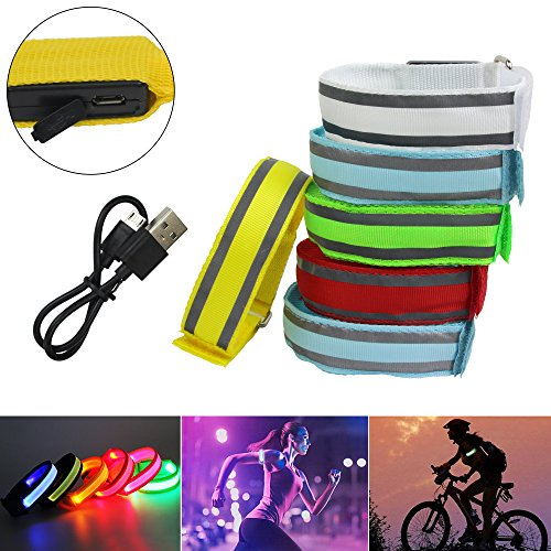 KYC 2 Pack USB Rechargeable LED Sports Armband Flashing Led Band Wrist Bracelets Arm Wrap Safety Light for Running Cycling (Green & Blue)