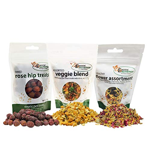 Exotic Nutrition Herbivore Treats (3 Pack) - for Guinea Pigs, Rabbits, Hamsters, Gerbils & More