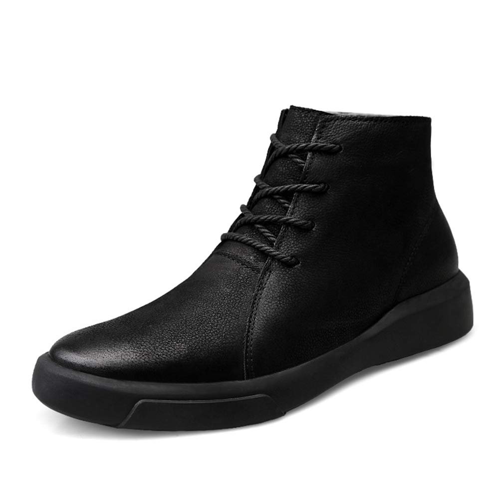 Gobling Fashion Ankle Boots for Young Men, High Top Outsole Light Boots (Warm Velvet Optional) (Color : Black, Size : 9.5 D(M) US)