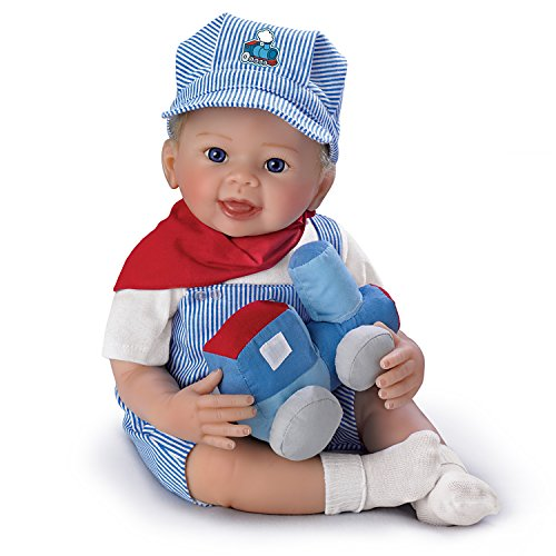 The Ashton-Drake Galleries Linda Murray All Aboard Logan Engineer Poseable Lifelike Baby Doll