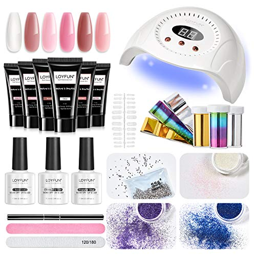 LOYFUN Poly Gel Nail Kit - Poly Nail Extension Gel Kit with 6 Colors Nail Extension Gel, 30W Nail Lamp, Glitter Powders, Nail Art Stickers, Nail Art Rhinestones for Beginner All-in-One Kit Gift