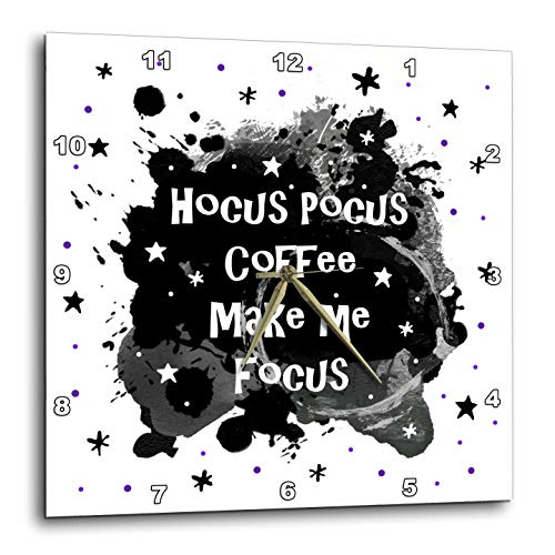 3dRose InspirationzStore - Occasions - Hocus Pocus Coffee Make me Focus - Funny Halloween Humor Witches Spell - 10x10 Wall Clock -