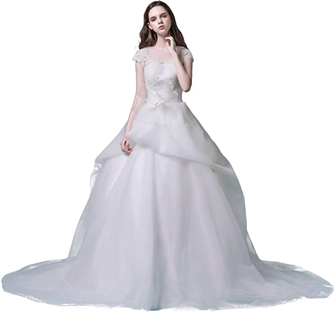 Ruolai Women S Layered Capped Wedding Gown Applique Lace Bridal Dress With Belt Decoration