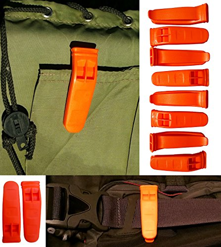 JQuad Outdoors (8 Pack) Safety Keychain Marine Whistle Boating Camping Hiking Emergency Survival Ice Fishing Rescue