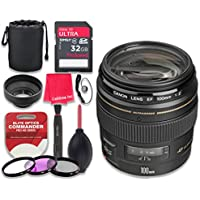 Canon EF 100mm f/2 USM Lens with 32GB Ultra Pro Speed Class 10 SDHC Memory Card + 3pc Filter Kit (UV-FLD-CPL) + Deluxe Sleeve + Celltime Microfiber Cleaning Cloth - International Version