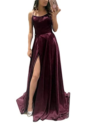 2018 Womens Sexy Side Slit Prom Dresses Long Silk Satin Vestidos de Fiesta