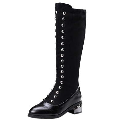 dc3411ee7ddaf RAZAMAZA Schuhe Damen Stretch Stiefel Reißverschluss: Amazon.de ...