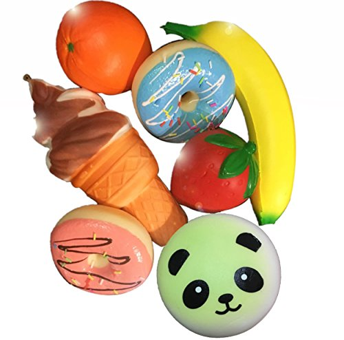 Squishy pack of 7 - Kawaii Jumbo Slow Rising Scented Squishies - Kids Toy or For Stress Relief