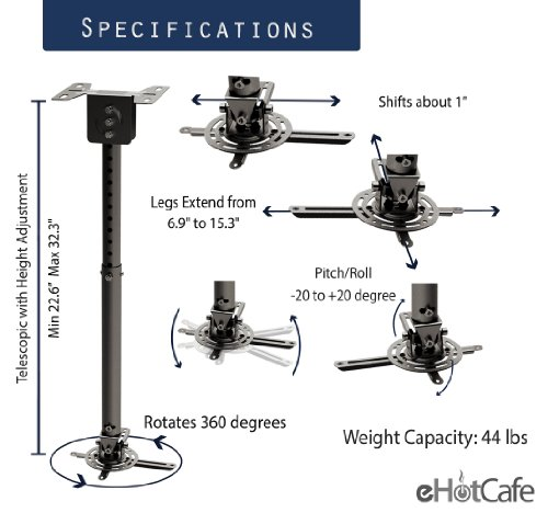 eHotCafe PRB-10-BLK Premium Quality Projector Ceiling Mount, Black by eHotCafe (Image #1)
