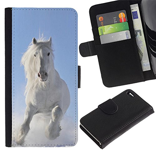 EuroCase - Apple Iphone 4 / 4S - Majestic White Winter Horse - Cuir PU Coverture Shell Armure Coque Coq Cas Etui Housse Case Cover