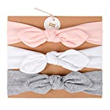 UeeSum Baby Girls Headbands with Bows 3 Pack Infant Toddler Headwrap Hair Accessories, Baby Pink/White/Heather Grey, Small