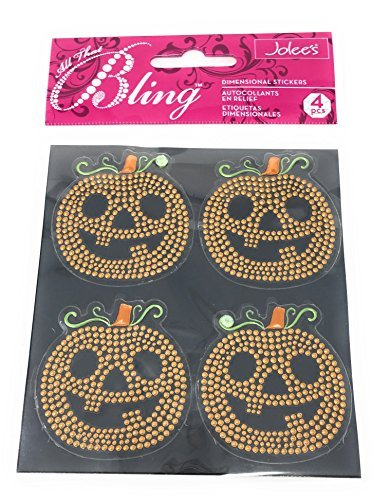 Jolee's All That Bling Dimensional Pumpkin Stickers (Sheet of 4 Stickers)