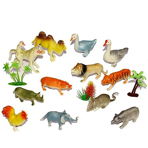 Dazzling Toys Farm and Jungle Animals with Trees
