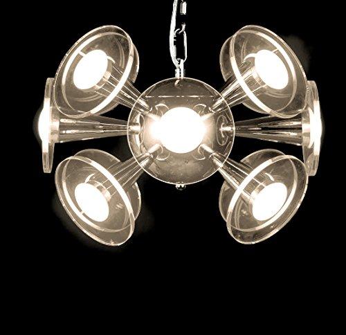 New Legend Modern LED Chandelier Glass Shade Chrome Finish Hanging Pendant Ceiling Lamp, 3 light color options in one - Modern Chandelier 12l