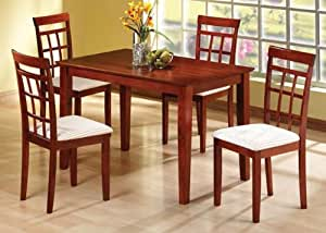 Amazon Com Solid Wood Dining Table And 6 Wood High Back