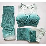 KKXXYJ 3 Unids Conjunto de Yoga Leggings Sin Costuras Sujetador Deportivo de Manga Larga Crop Top Mujeres Corriendo Ropa de Gimnasio de Cintura Alta Gimnasio Traje Deportivo