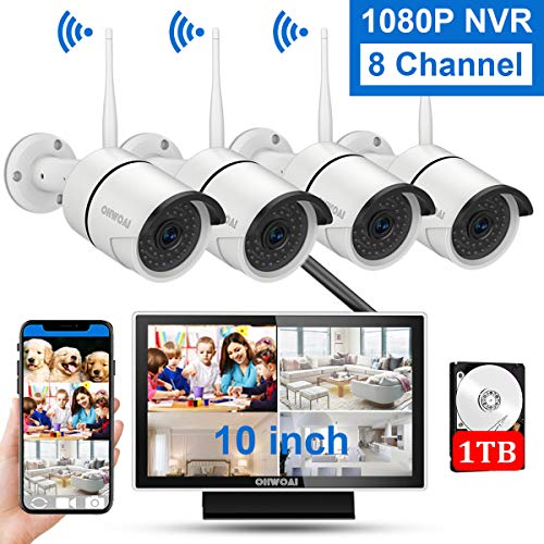 【8CH Expandable】Wireless Security Camera System with 10 Inch Monitor,OHWOAI 10 Inch Screen Wireless Home Surveillance Camera System 1TB Hard Drive Pre-installed,4pcs 1080P 2.0MP Indoor/Outdoor Wireles