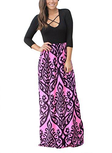 Jevole Womens Crisscross 3/4 Sleeve Boho Printed High Waist Long Maxi Dress(Rose,L)