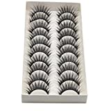 False Eyelashes,SMYTShop 10 Pairs Thick Long Cross False Eyelashes Black Band Fake Eye Lashes