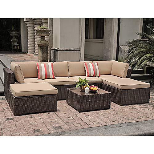 SUNSITT 7 Piece Outdoor Sectional Patio Rattan Furniture Set, Brown Wicker Conversation Sofa Set with Ottoman & Coffee Table, Beige Cushions