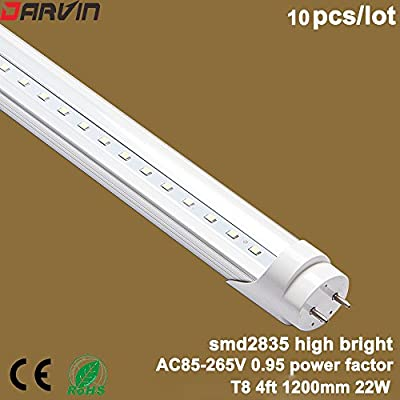 Led Light T8 4ft Light Lamp SMD 2835 Led Chip High Lumen 22watts 110V 220V Led Tube Factory Price (Clear Cover, Cold White 6000-6500K)