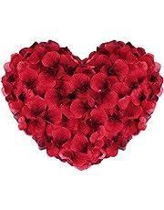 Vegena 3 000 stycken rosenblommor, silke rosblad rosor blad blommor konstgjorda blommor silke blommor för romantisk atmosfär och bröllop, födelse, dop, alla hjärtans dag, födelsedagsfestdekoration (röd)