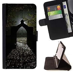 """Puerta automática Luz de Halloween Oscuro"""" Colorida Impresión Funda Cuero Monedero Caja Bolsa Cubierta Caja Piel Id Credit Card Slots Para Apple Iphone 5C"""