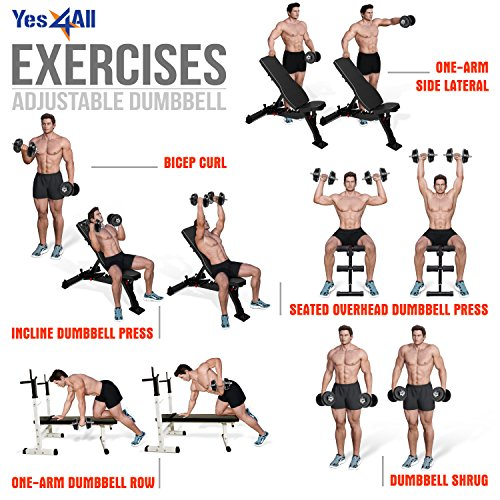 Yes4All Adjustable Dumbbells, 50.00 Pounds