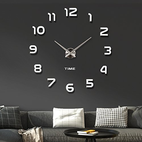 Vangold Frameless DIY Wall Clock 3D Mirror Wall Clock Large Mute Wall Stickers for Living Room Bedroom Home Decorations (2-Year Warranty)