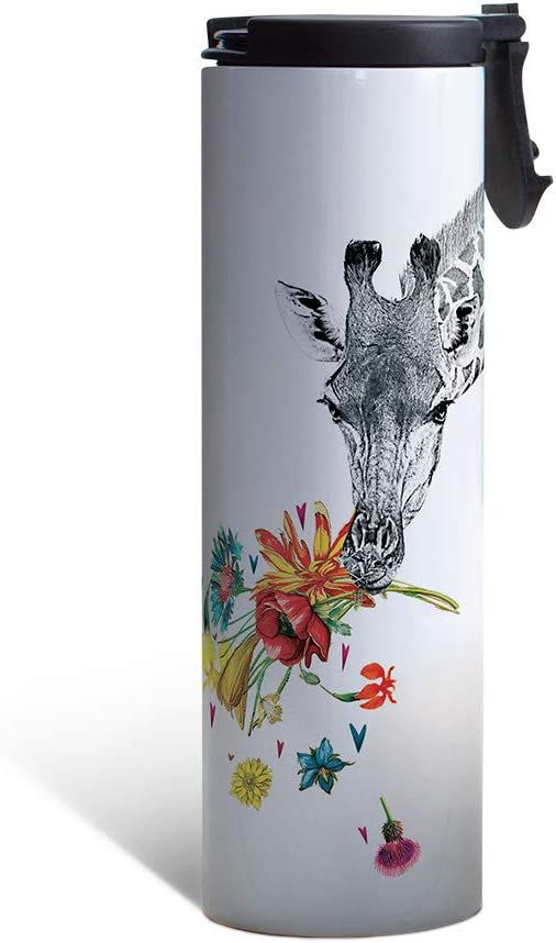 Tree-Free Greetings Checking in Giraffe Vacuum Insulated Travel Coffee Tumbler, 17 Ounce Stainless Steel Mug, Gift for Animal Lovers