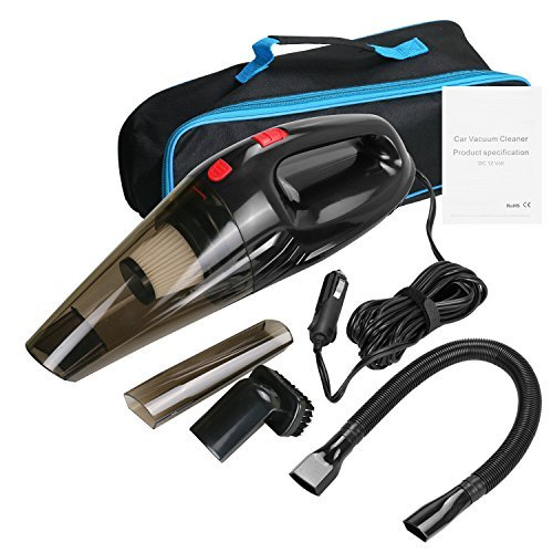Handheld Car Vacuum Cleaner 12V, 4500PA Powerful Wet Dry Car Hoover, 3-in-1 Portable with Crevice Tool, Dusting brush, Liquid Nozzle, 16.4FT (5M) Power Cord and Carrying Bag - Black (Black)