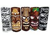 Set of (5) Gorgeous Wooden Handcarved 12'' Tall Tiki Masks Tropical Wall Decor!
