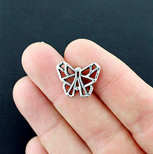 6 Origami Butterfly Charms Antique Silver Tone Connector 2 Sided Vintage Crafting Pendant Jewelry Making Supplies - DIY for Necklace Bracelet Accessories by CharmingSS (Silver Tone Butterfly Charms)