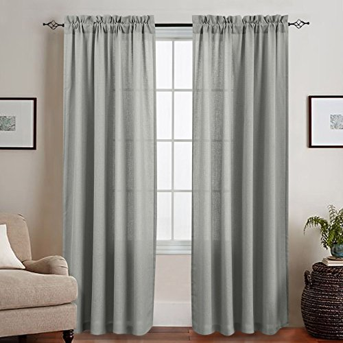 Grey Semi Sheer Curtains for Living Room 84 Inches Long Window Curtain Panels for Bedroom Casual Weave Textured 1 Pair Sheers