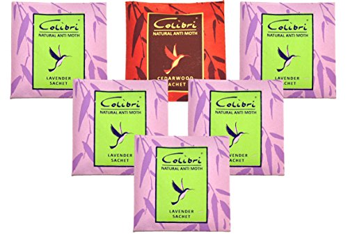 Colibri Packs of 5 All Natural Moth Repellent/Clothing Protection with Pure Lavender Oil Sachets for Drawers, Closet, Cloakroom Cedar Sachet